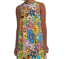 Colorful flowers background A-Line Dress