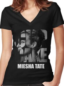 miesha tate Women's Fitted V-Neck T-Shirt