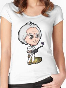 BTTF - Back to the Future 1985 Dr. Emmett Brown Doc Christopher Lloyd Chibi Women's Fitted Scoop T-Shirt