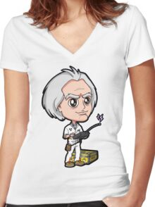 BTTF - Back to the Future 1985 Dr. Emmett Brown Doc Christopher Lloyd Chibi Women's Fitted V-Neck T-Shirt