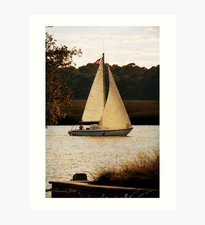 Sailboat ~ Heading Home Under Full Sail  Art Print