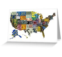 USA vintage license plates map Greeting Card