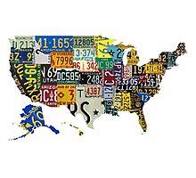 USA vintage license plates map Photographic Print