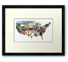 USA vintage license plates map Framed Print