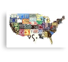 USA vintage license plates map Canvas Print