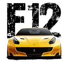 Sports Car F12 - Front words Photographic Print