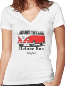 Volkswagen T1 Deluxe Bus (red) Women's Fitted V-Neck T-Shirt
