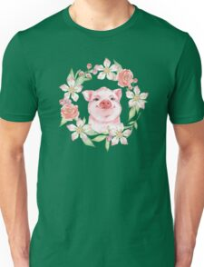 Pig and flowers Unisex T-Shirt