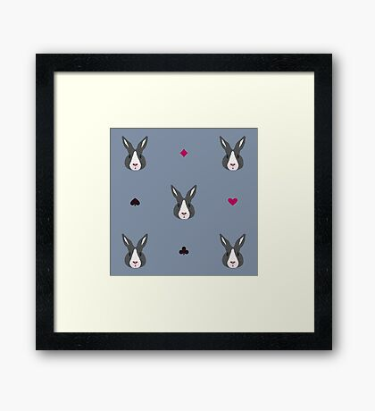 Pattern with fairy bunny Framed Print