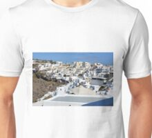 Photography of traditional and famous white houses over the Caldera, Aegean sea in Santorini island, Greece. Unisex T-Shirt
