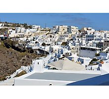 Photography of traditional and famous white houses over the Caldera, Aegean sea in Santorini island, Greece. Photographic Print