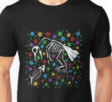 Bird and Fish Skeletons on Bed of Flowers Unisex T-Shirt