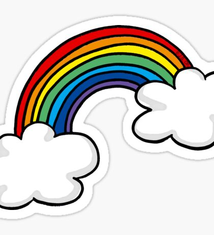 Colorful rainbow in white clouds Sticker