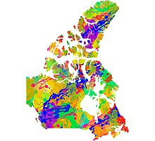 Canada Watercolor Map Photographic Print