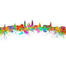 Glasgow Art Watercolor art print of the skyline of Glasgow, Scotland, United Kingdom Photographic Print