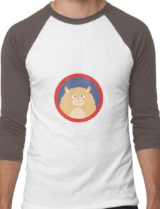 Cute fluffy Hamster with red circle Men's Baseball ¾ T-Shirt