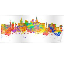 Watercolor art print of the skyline of Las Vegas Nevada City USA Poster