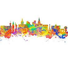 Watercolor art print of the skyline of Las Vegas Nevada City USA Photographic Print