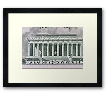 Lincoln Memorial on the 5 dollar bill Framed Print