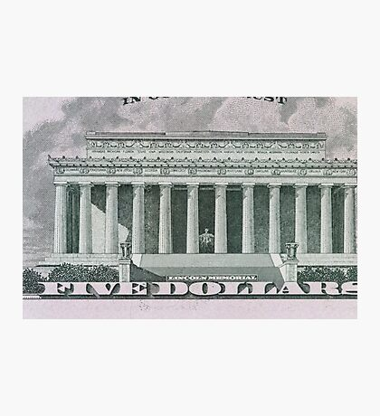 Lincoln Memorial on the 5 dollar bill Photographic Print