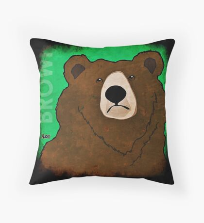 Brown Bear (Rustic) Throw Pillow
