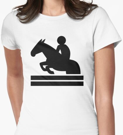 Equestrian Horse Jumping Womens Fitted T-Shirt