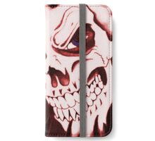 Halloween, Dantes Inferno, spooky pattern, skeleton, skulls 3 red iPhone Wallet/Case/Skin