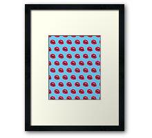 Lips Pattern Light Blue Framed Print