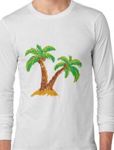 handmade drawing pastel chalks palm tree  Long Sleeve T-Shirt