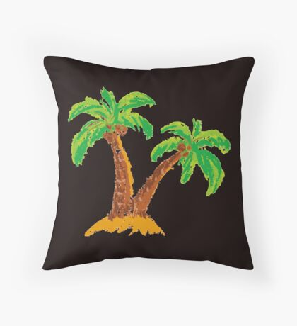 handmade drawing pastel chalks palm tree  Throw Pillow