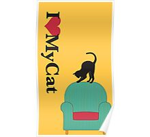 Cat on a turquoise armchair 2 Poster