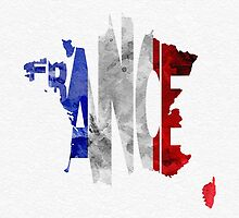 France Typographic Map Flag by A. TW