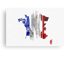 France Typographic Map Flag Metal Print
