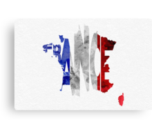 France Typographic Map Flag Canvas Print