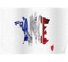 France Typographic Map Flag Poster