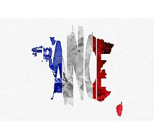 France Typographic Map Flag Photographic Print