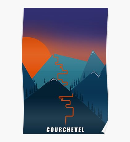 Courchevel Skiing Poster