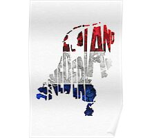 The Netherlands Typographic Map Flag Poster