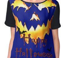Happy Halloween, Jack O' Lantern face, spooky smile, bats 2 Chiffon Top