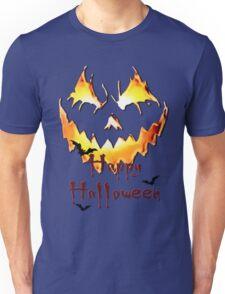 Happy Halloween, Jack O' Lantern face, spooky smile, bats 2 Unisex T-Shirt