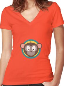 Cute Monkey Head with blue cirlce Women's Fitted V-Neck T-Shirt