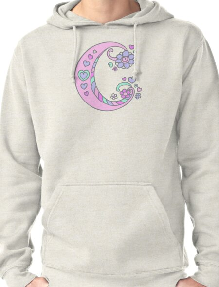 The letter C initial flower and hearts art Pullover Hoodie