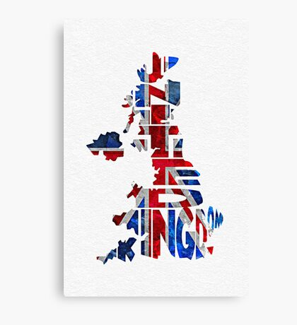 United Kingdom Typographic Kingdom Canvas Print