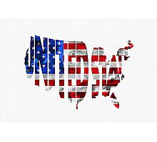 United States Typographic Map Flag Photographic Print