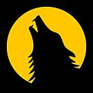 Howling wolf with full moon by beakraus