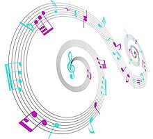 Music Notes Swirl Design Photographic Print