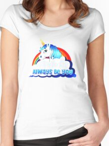 Central Intelligence Unicorn parody funny Women's Fitted Scoop T-Shirt