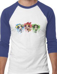 The PowerPuff Girls Paint Splatter Design Men's Baseball ¾ T-Shirt