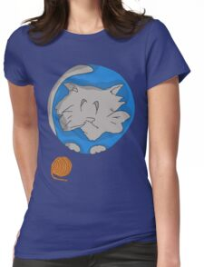 Cat planet with Yarn moon Womens Fitted T-Shirt