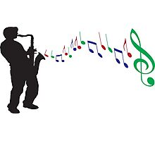 Silhouette Man Playing Trumpet Photographic Print